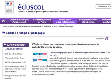 Dossier sur le principe de laïcité à l'école dans Eduscol