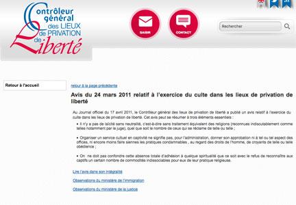 Avis du 24 mars 2011 relatif à l'exercice du culte dans les lieux de privation de liberté